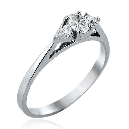 Steffans Oval & Pear Shaped Diamond Claw set 3 Stone Platinum Engagement Ring (0.38ct)