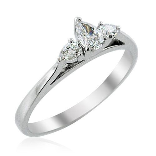 Steffans Pear Shaped Diamond Claw set 3 Stone Platinum Engagement Ring (0.38ct)