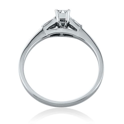 Steffans Emerald Cut Diamond Platinum Solitaire Engagement Ring with Baguette Cut Diamond Tapered Shoulders (0.38ct)