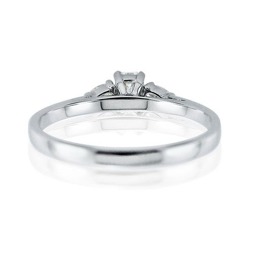 Steffans Emerald Cut & Pear Shaped Diamond Claw Set 3 Stone Platinum Engagement Ring (0.38ct)
