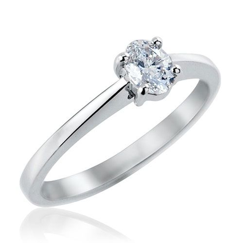 Steffans Oval Shaped Diamond Claw Set Platinum Solitaire Engagement Ring (0.30ct)
