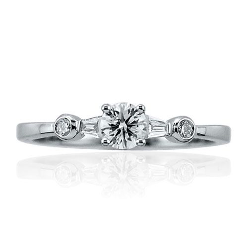 Steffans RBC Diamond Platinum Solitaire Engagement Ring with RBC Diamond Tapered Shoulders (0.38ct)