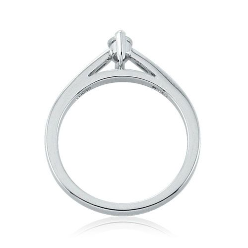 Steffans Marquise Cut Diamond Platinum Solitaire Engagement Ring with Channel Set Diamond Shoulders (0.33ct)