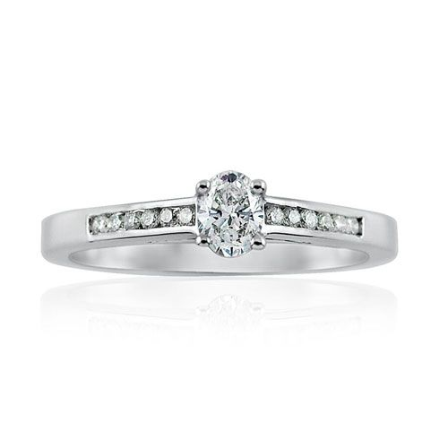 Steffans Oval Shaped Diamond Platinum Solitaire Engagement Ring with Channel Set Diamond Shoulders (0.33ct)