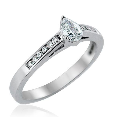 Steffans Pear Shaped Diamond Platinum Solitaire Engagement Ring with Channel Set Diamond Shoulders (0.33ct)