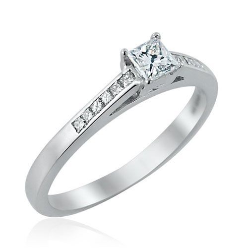 Steffans Princess Cut Diamond Platinum Solitaire Engagement Ring with Channel Set Princess Cut Diamond Shoulders (0.33ct)