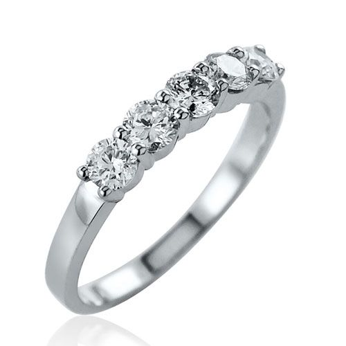 Steffans RBC Diamond Shared Claw Set 5 Stone Platinum Engagement Ring (0.75ct)