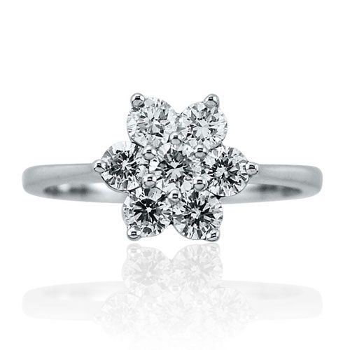 Steffans RBC Diamond Claw Set Platinum Engagement Cluster Ring (0.75ct)
