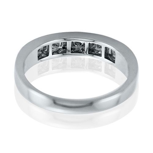 Steffans Princess & Baguette Cut Diamond Channel Set Platinum Half Eternity Ring (0.75ct)