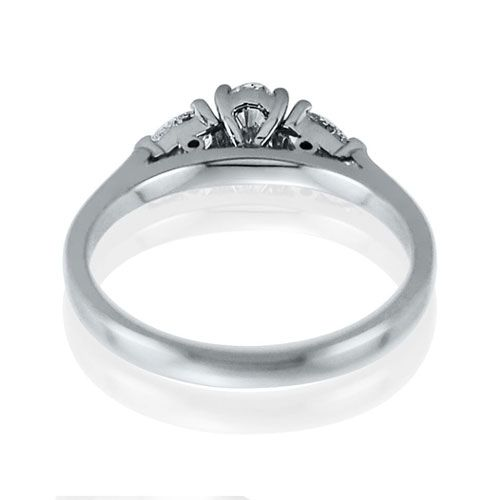 Steffans Oval & Pear Shaped Diamond Claw Set 3 Stone Platinum Engagement Ring (0.55ct)