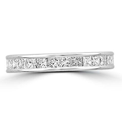 Steffans Princess Cut Diamond Channel Set Platinum Full Eternity Ring (1.70ct)
