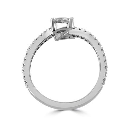 Steffans Pear Shaped Diamond Claw Set Platinum Crossover Engagement Ring