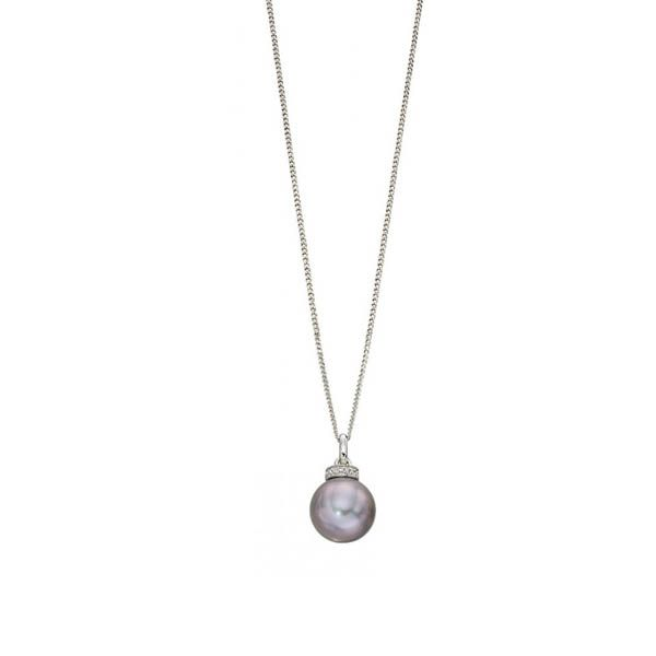 Steffans Grey Pearl & Diamond White Gold Rondelle Pendant Necklace