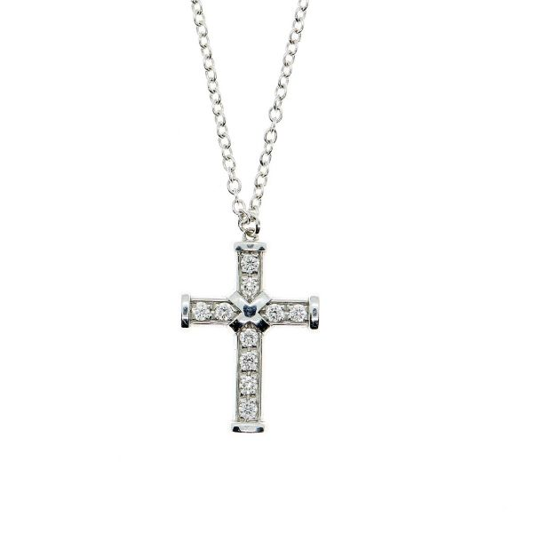 22daf2cfe562d6 Theo Fennell 18ct White Gold Iconette Pave Diamond Cross Chain Necklace