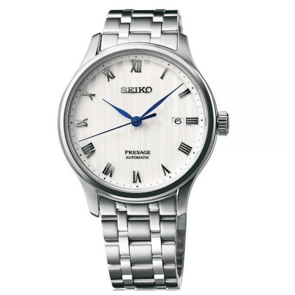 Seiko White Patterned Dial Presage Automatic Watch