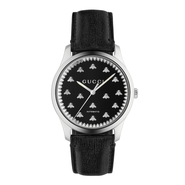 Gucci Men's G-Timeless Black Onyx Bee Motif Dial Automatic Watch