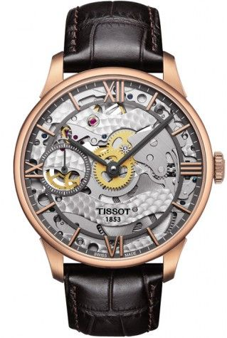 Tissot Automatic Rose Gold Plated Case Chemin Des Tourelles Squelette Gents Watch With Brown Leather Straps