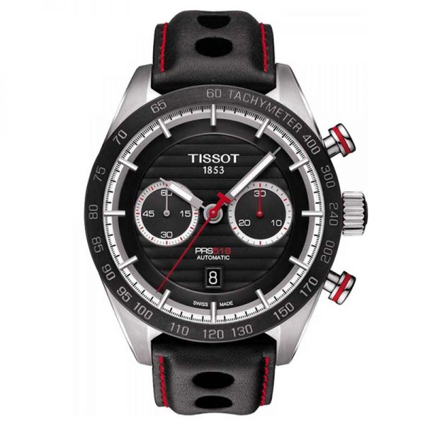 Tissot Black Leather Strap PRS 516 Automatic Chronograph Watch