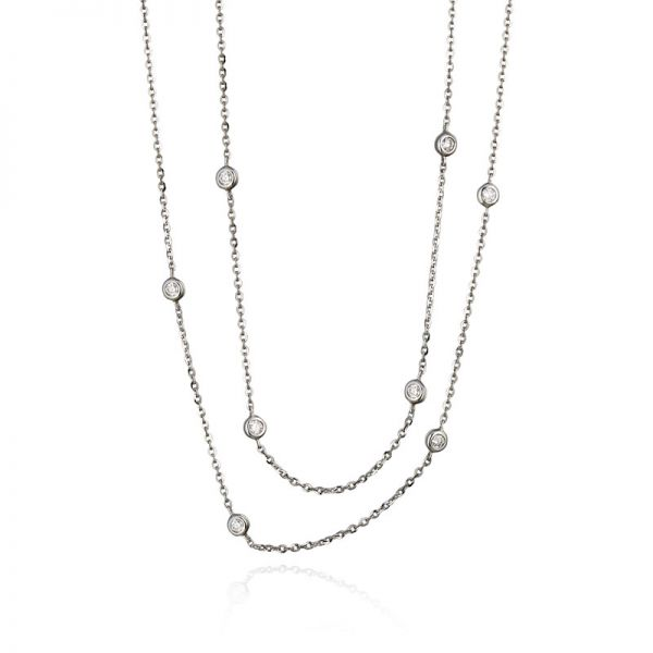9ct White Gold & Diamond (0.27ct) Wrap Necklace