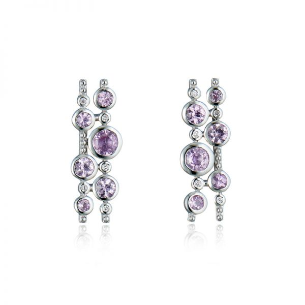 9ct White Gold & Pink Sapphire Climber Earrings