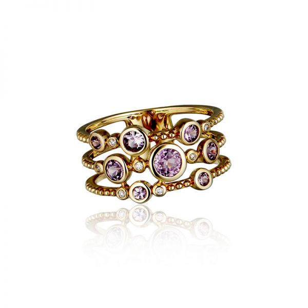 9ct Yellow Gold & Pink Sapphire Multi-Stone Ring