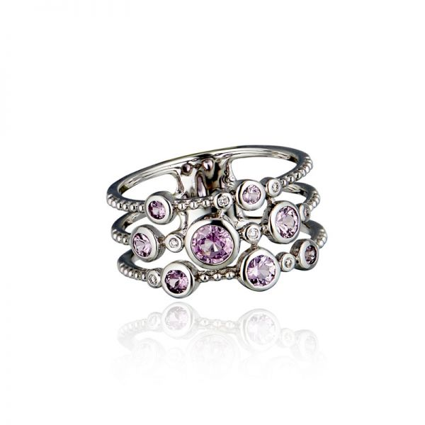 9ct White Gold & Pink Sapphire Multi-Stone Ring