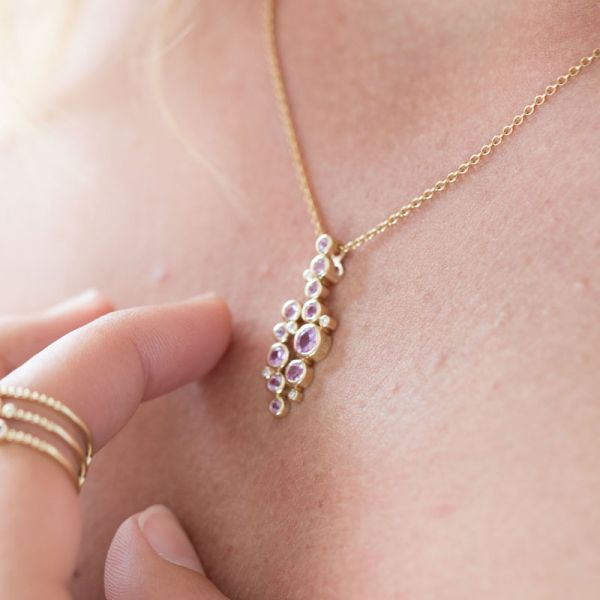 9ct Yellow Gold & Pink Sapphire Multi-Stone Pendant Necklace