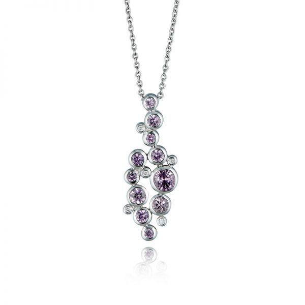 9ct White Gold & Pink Sapphire Multi-Stone Pendant Necklace