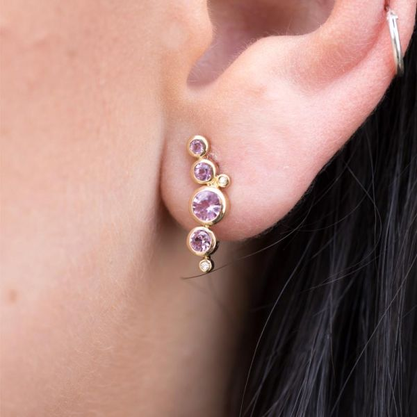 9ct Yellow Gold & Pink Sapphire Earrings