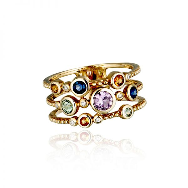 9ct Yellow Gold & Multi-Coloured Sapphire Multi-Stone Ring