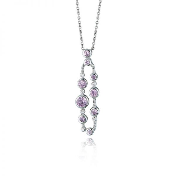 9ct White Gold & Pink Sapphire Loop Pendant Necklace