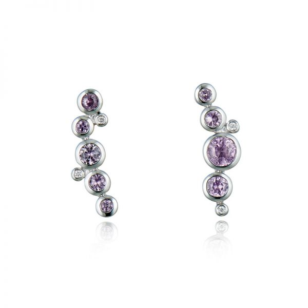 9ct White Gold & Pink Sapphire Earrings