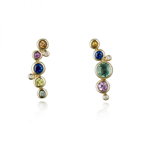 9ct Yellow Gold & Multi-Coloured Sapphire Earrings