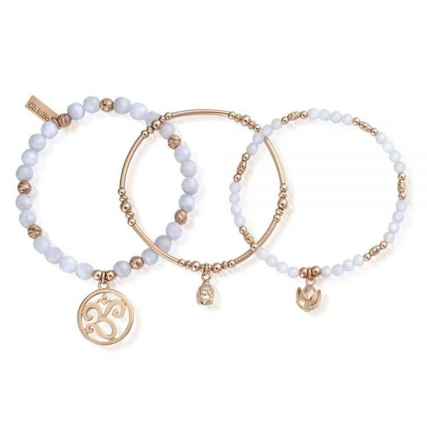 ChloBo Stack of 3 Rose Gold Plated Blue Lace Agate Tranquillity Bracel