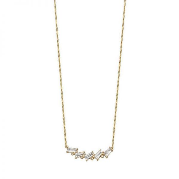 Steffans 9ct Yellow Gold & White Topaz Necklace