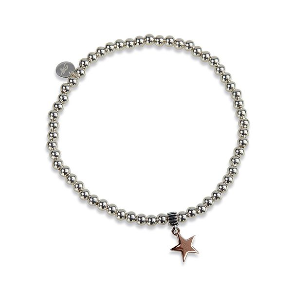 Steff Bloomsbury Silver Bead Bracelet & Rose Gold Plated Star Charm
