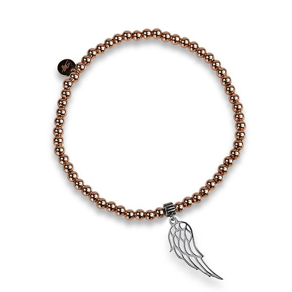 Steff Bloomsbury Rose Gold Plated Silver Bracelet & Silver Angel Wing Charm