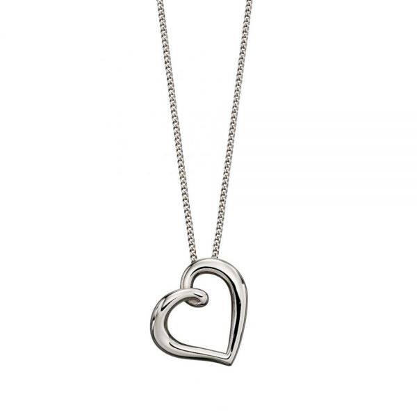 Steffans 9ct White Gold Open Heart Pendant Necklace