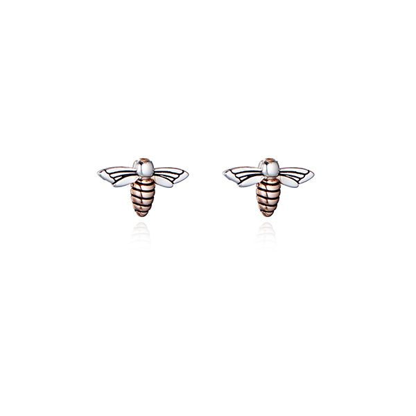 Steff Bloomsbury Silver & Rose Gold Plated Bee Earrings