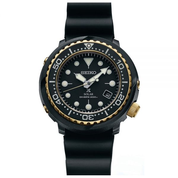 Seiko Black Prospex Solar Diver's Automatic Watch