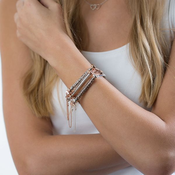 Steff Soho Rose Gold Shackle Bangle with Silver Bar