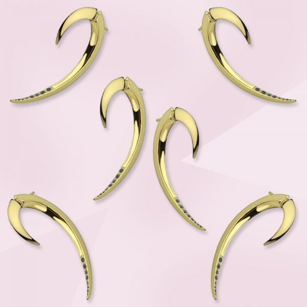 Shaun Leane Exclusive Limited Edition Yellow Gold Plated & Black Diamond Hook Earrings