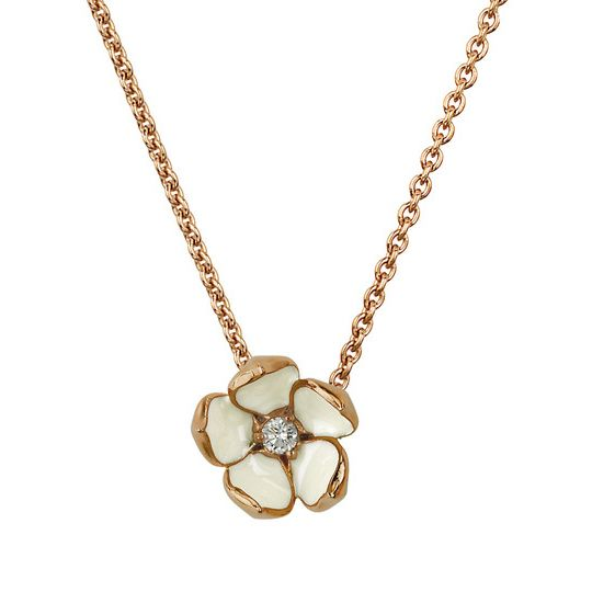 Shaun Leane Rose Gold Vermeil Cherry Blossom Pendant With Diamond