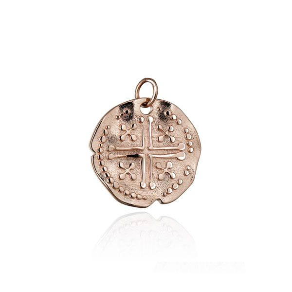 Steff Rose Gold Short Cross Coin Pendants
