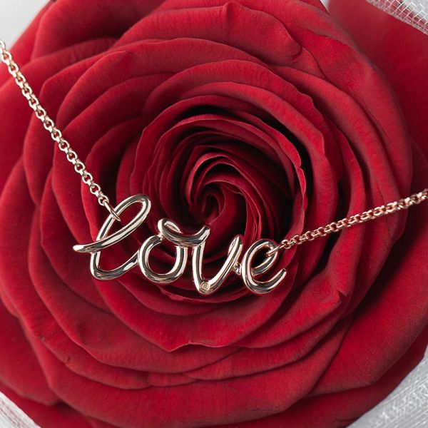 Steff Rose Gold Plated Sterling Silver & Diamond Love Necklace