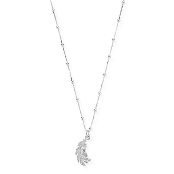 ChloBo Sterling Silver Bobble Chain Heart In Feather Necklace