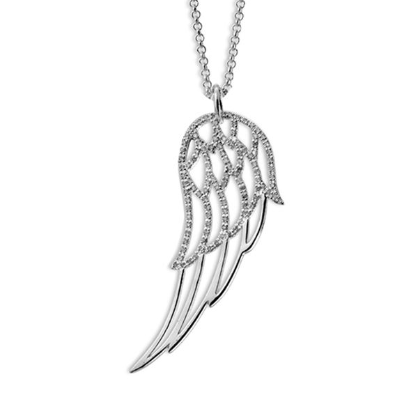Steff Highgate Sterling Silver & Diamond Angel Wings Pendant with Chain