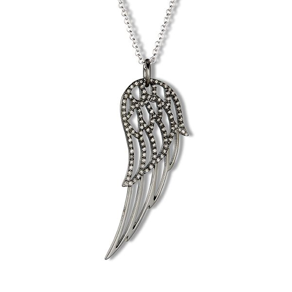 Steff Highgate Black Rhodium Silver & Diamond Wing Pendant with Chain