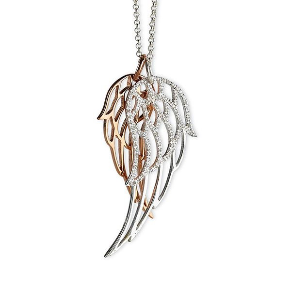 Steff Highgate Rose Gold Plated Silver & Diamond Angel Wing Pendants with Chain