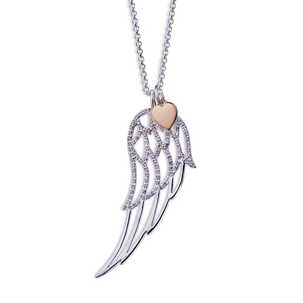 Steff Highgate Silver & Diamond Wing & Rose Gold Plated Heart Pendants with Chain
